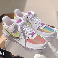 Nike Air Force 1 hot sale women's colorful gradient thick sole shoes
