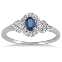 Sapphire and Diamond Vintage Style Ring in 10K White Gold