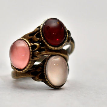 Shades Of Red Thin Stacking Rings Set Of Three Antique Brass Cabochon Rings