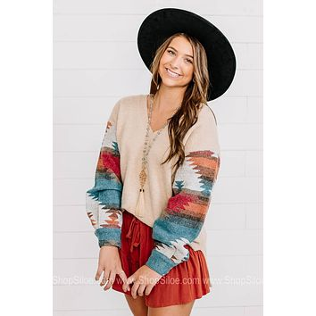 All The Rage Aztec Sleeved Sweater