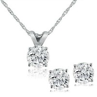 1/2 ctw Genuine Diamond Solitaire Necklace & Studs Earrings Set 14K White Gold