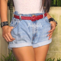 Levis high waisted shorts,Plain Cutoff shorts,Rolled Up Denim,boyfriend jeans by Jeansonly