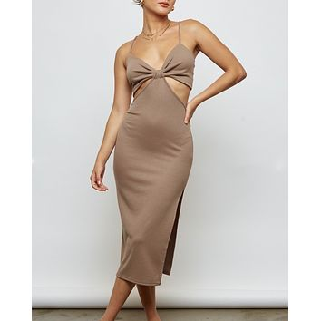 Good Vibes Cut Out Side Slit Ribbed Midi Dress in More Colors