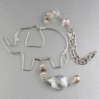 Handmade Wire Elephant w. Pink & Clear Crystals Ornament For Car Rear View Mirror/Rear View Mirror Charm/Rear View Mirror Ornament/Car Decor