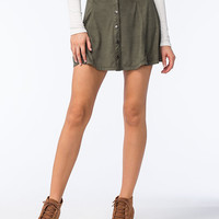 Full Tilt Button Front Suede Skater Skirt Dark Green  In Sizes