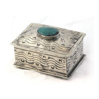 Small Stamped Silver and Turquoise Box