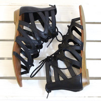 Santini Caged Lace-Up Gladiator Sandal {Black}