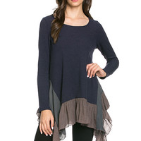 Ruffled Hem Top - Navy/Cocoa