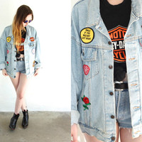 Vintage 90s LEVI'S Patched Oversized Light Denim Jacket // Hipster Grunge Biker Boho Hippie // Medium / Large / XL Extra Large