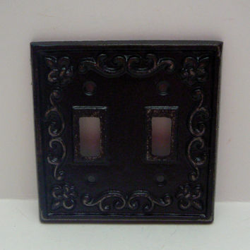 Fleur de lis Cast Iron Light Switch Plate Cover Double Wall Shabby Chic Distressed Rustic French Decor Classic Black