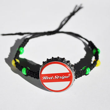 Red Stripe Beer Recycled Bottle Cap Bracelet, Hemp Bracelet, rasta jewelry, jamaica, weed jewelry, red, yellow and green, beer accessory