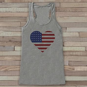 American Heart Tank Top - Women's Flag Heart 4th of July Tank - Grey Flowy Tank - Fourth of July Shirt - American Pride Top - 4th of July