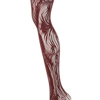 Wine Peacock Lace Tights