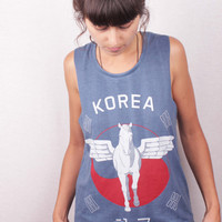 Free Shipping - Unisex Korea Pegasus Washed Jeans screen printed Trashtop