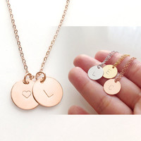 Rose Gold Initial Necklace Gold Initial Charm Necklace Monogram Necklace Love necklace girlfriend gift