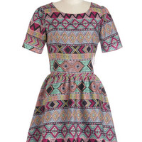Sugarhill Boutique Folk Art Mid-length Short Sleeves A-line Bright and Earthy Dress