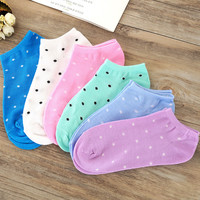 Free Shipping Women Cotton Socks 5 Candy Colored Female Casual Sock Dot Cute Socks Ladies Cheap Good Quality S82