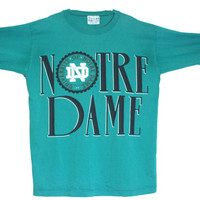 "Vintage 90s Notre College Dame Long Sleeve Crewneck T-Shirt | Unisex Adult ""One Size Fits All"" 
