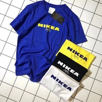 """NIKEA"" Unisex Casual Letter Print Short Sleeve Couple Cotton T-shirt Top Tee"