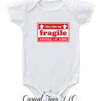Fragile Handle with Care This Side Up Funny Christmas Baby Bodysuit for the Baby