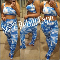 Blue & White Ruched Stacked Pants & Cropped Top Tie Dye Set