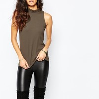 River Island High Neck Detail Shell Top at asos.com