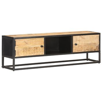 """vidaXL Solid Rough Mango Wood TV Cabinet with Carved Door TV Stand 35.4""""/51.2"""""""