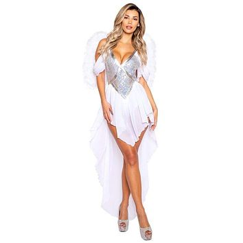 Sexy Heaven Sent Angel Sequin Romper Costume