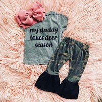 Baby Girl Summer Clothes Letter Gray T  shirt Tops