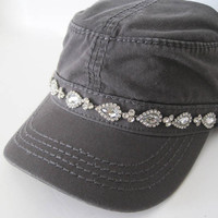 Charcoal Grey Cadet Military Army Hat with Beautiful Rhinestone Band Accent Womens Hats Accessories Sun Hats