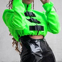 Autumn and winter hot style schoolbag button jacket coat half high collar short rope button top jacket flourescent green