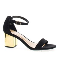 Highlight28 By Bamboo, Metal Plated Block Mid Heel Open Toe Sandal w Ankle Wrap Strap
