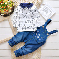 2pcs Toddler Baby Boys Clothes Set Cowboy Overalls Pnats Long Sleeve Shirt Tops Clothing Suit Kid Boy Outfits Suspender Trousers
