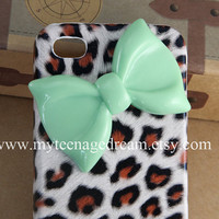 iphone 4 case, leopard cases for iPhone 4, cheetah iphone 4s hard case, mint green bow iPhone 4 case
