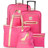 New Directions® 5-Piece Pink with Metallic Gold Trim Luggage Set