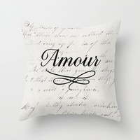 Amour White Throw Pillow - Geometric Pillow - Modern Decor - Throw Pillow - Urban Decor - by Beverly LeFevre