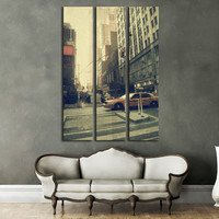 New York Canvas Print Multi Panel Wall Art / New York Skyline & Cityscape Large Canvas Print Living Room Wall Art / Manhattan Taxi Wall Art