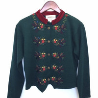 Floral Embroidery Sweater - Dark Green