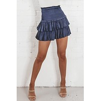 Way You Move Navy Silky Smocked Skirt