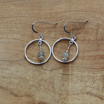 Labradorite Sterling Silver Earrings ~ Hoop Earrings ~ Stone Jewellery ~ Grey Blue Stones ~ Canadian Gemstones