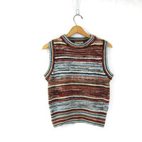 1970s sweater vest. striped sweater top. 70s brown & Blue knit sweater. Fall knit shirt top. Bohemian Chic Boho Hippie vest. Womens small