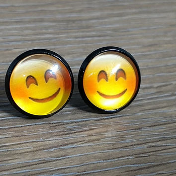 Emoji earrings-  Smiling face with wide mouth and sqinting eyes- in black earrings