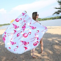 Big Round Microfiber Beach Towel With Tassels