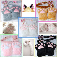 Halloween 1Set Cat Ears Plush Paw Claw Gloves Tail Bow-tie Anime Cosplay Costume = 1958065156