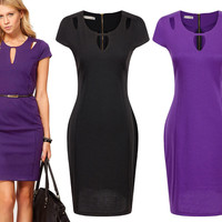 2017 Hot New Womens Elegant O-Neck Tunic Wear To Work Business Dress Ladies Casual Party Stretch Pencil Sheath Dresses