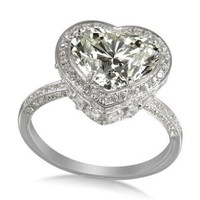 4.215 ct Diamond & 18K White Gold Colossal Heart Ring