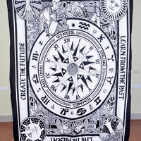 Beautiful Horoscope Tapestry Indian Astrology Tapestry Hippie White Tapestry Indian Zodiac Wall Decor Bed Cover Bed Sheet Decorative Art