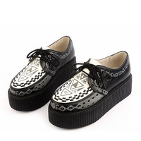 New Handmade Women's Graffiti pattern Suede Sexy Lace Up Flat Platform Goth Creepers Punk Creepers Shoes