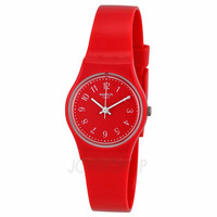 Swatch Red Pretty Sexy Red Dial Red Silicone  Double Wrap  Ladies Watch LR127