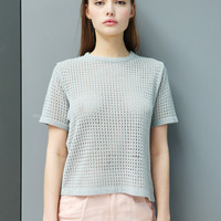 Limited Edition: Crochet Knit T-Shirt Pale Green